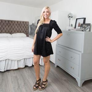 BCBGMAXAZRIA // Black Eyelit Sleeved Mini Dress